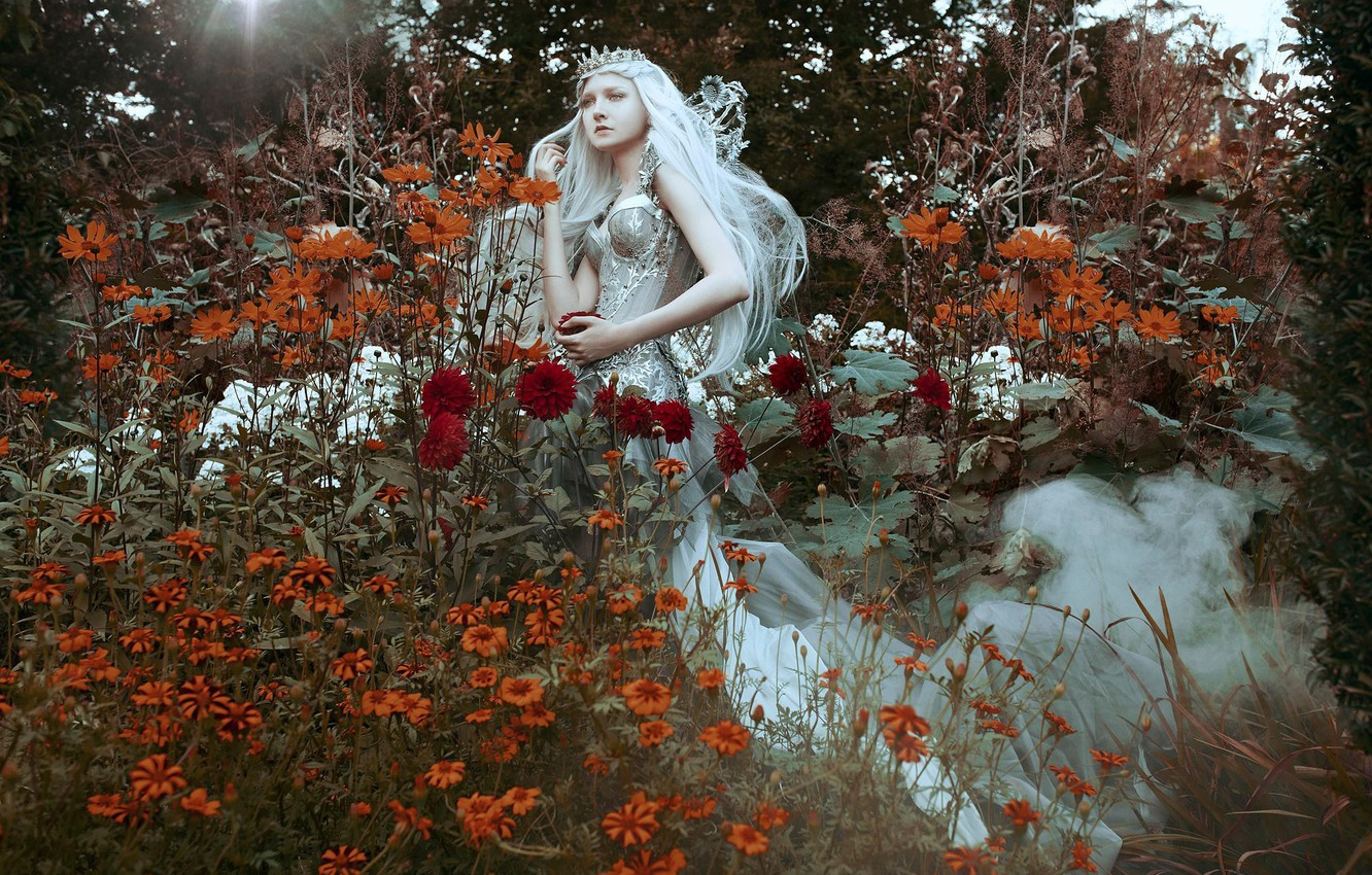 Photo wallpaper girl, flowers, style, mood, crown, dress, Diadema, Princess, long hair, Maria Amanda, Bella Kotak, Mary …