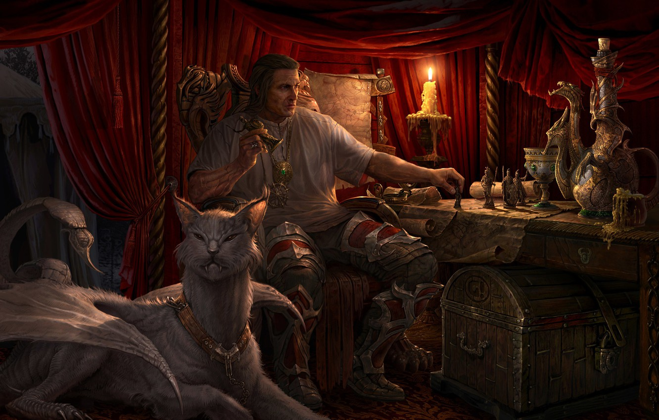 Photo wallpaper table, man, candle, being, chest, figurines, Strategy