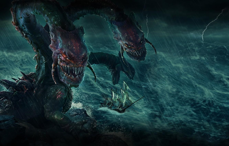Photo wallpaper Monster, Ship, Storm, The storm, Plarium, Stormfall Age of War, Dragon