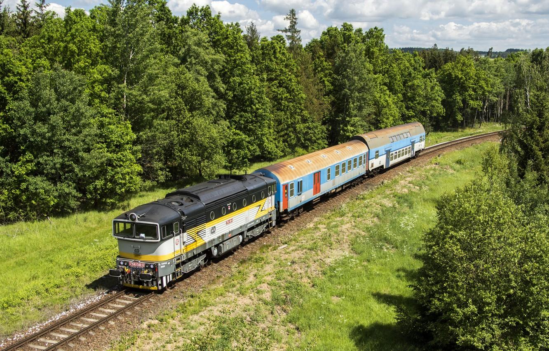 Photo wallpaper trees, the way, train, cars, railroad, locomotive, Locomotive, railroads