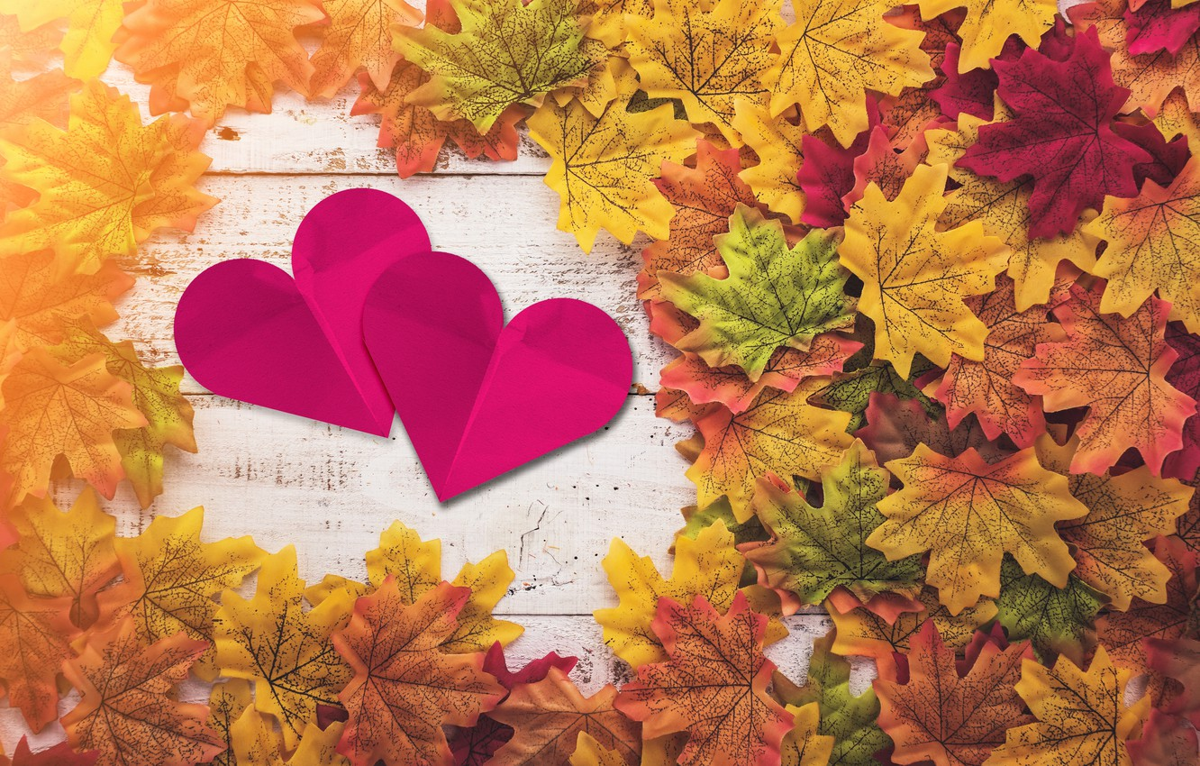 Photo wallpaper autumn, leaves, love, heart, red, love, heart, wood, autumn, leaves, romantic, autumn, maple