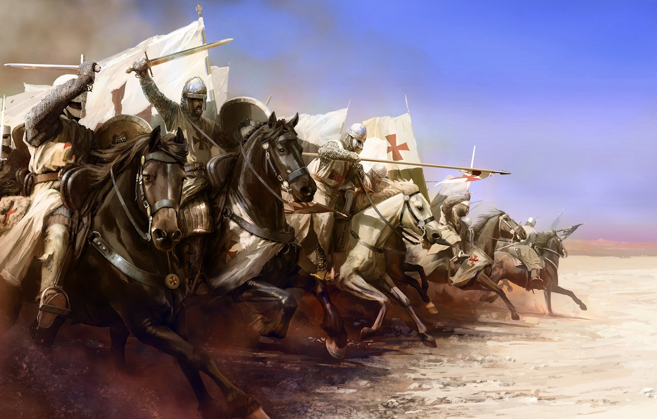 Photo wallpaper weapons, attack, horse, armor, flag, Templar, Knight