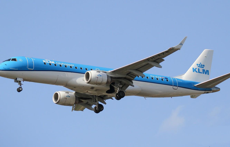 Photo wallpaper blue, wings, the plane, A passenger plane