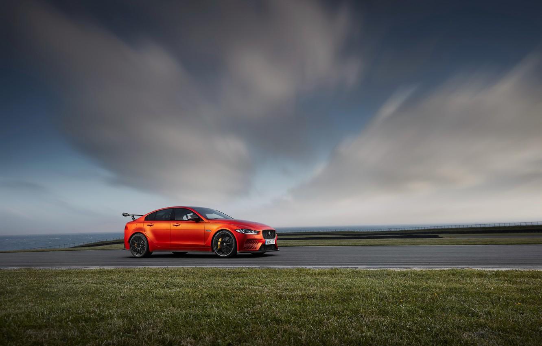 Photo wallpaper car, Jaguar, sky, vegetation, Jaguar XE SV Project 8
