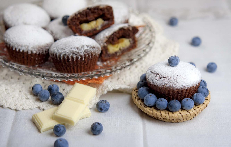 Photo wallpaper berries, chocolate, cupcakes, blueberries