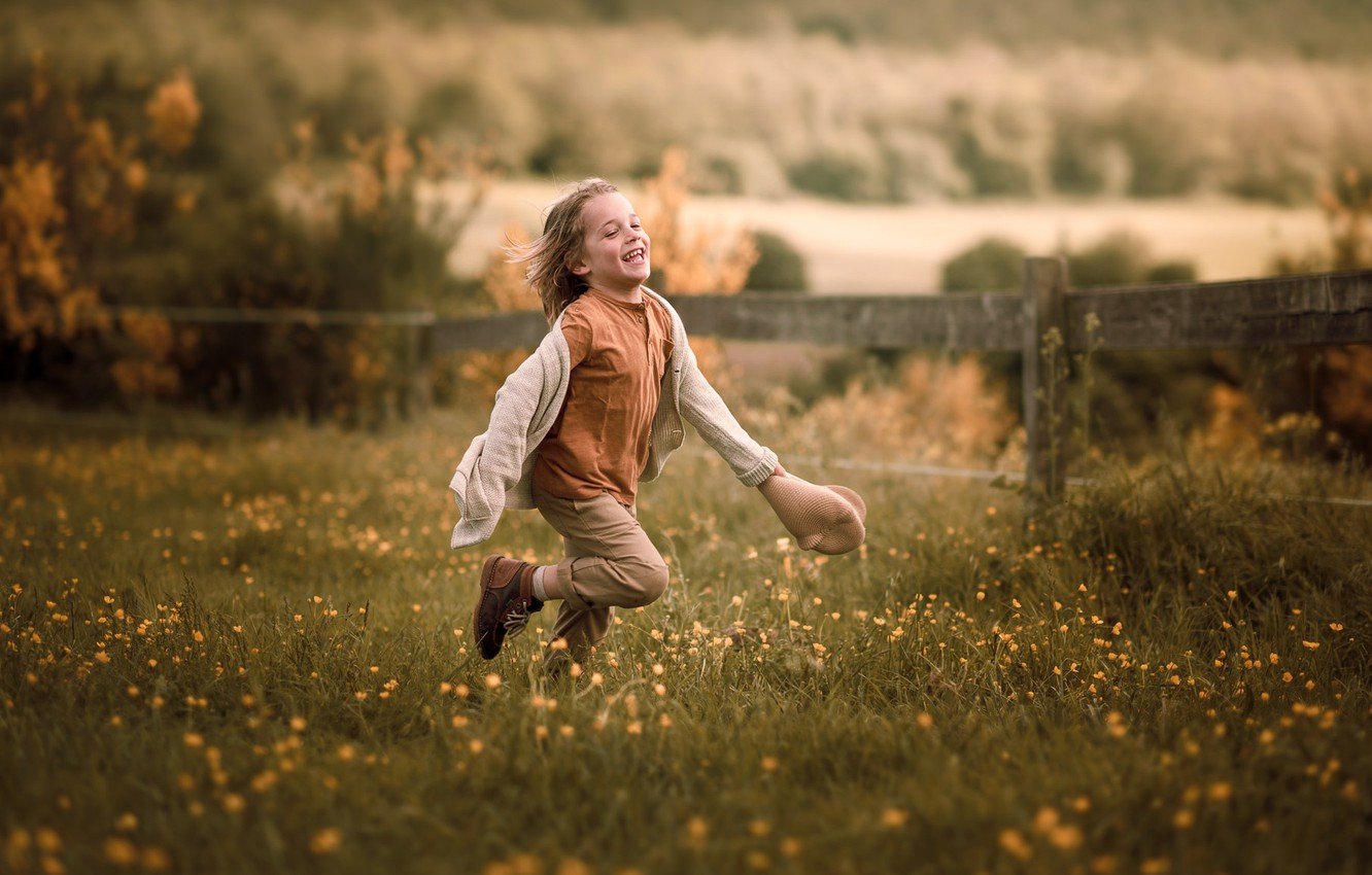 Photo wallpaper field, summer, joy, flowers, nature, childhood, emotions, movement, mood, the fence, positive, boy, village, meadow, …