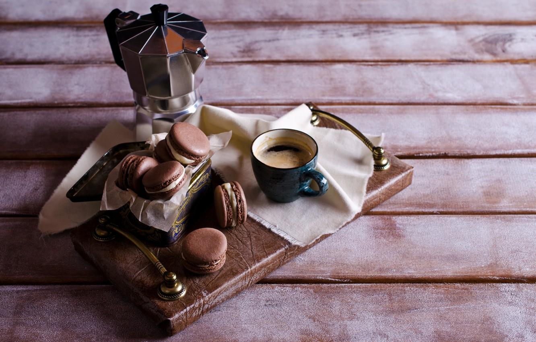 Photo wallpaper coffee, cookies, Cup, cream, dessert, cakes, sweet, coffee cup, cookies, macaron, almond, macaroon