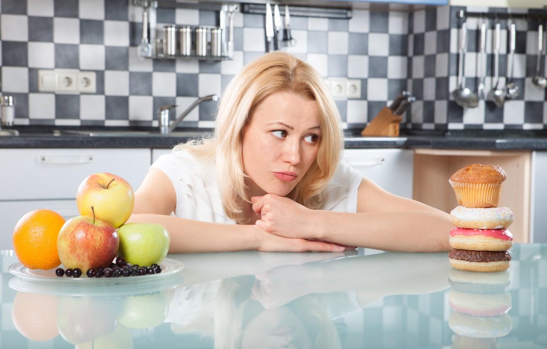 Photo wallpaper Woman, diet, healthy food, temptations