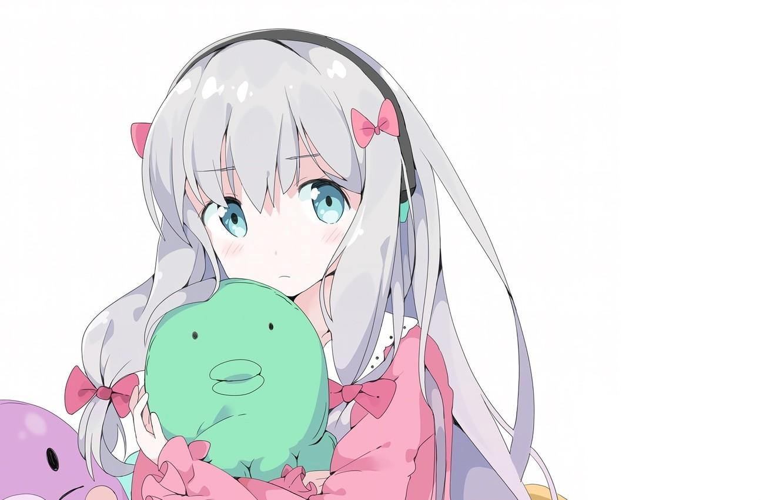Photo wallpaper girl, white background, bows, blue eyes, white hair, bezel, soft toy, EroManga-Sensei, Sagiri Izumi