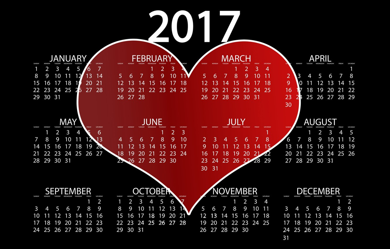 Photo wallpaper love, red, background, black, heart, graphics, new year, vector, figures, black background, calendar, year, date, …