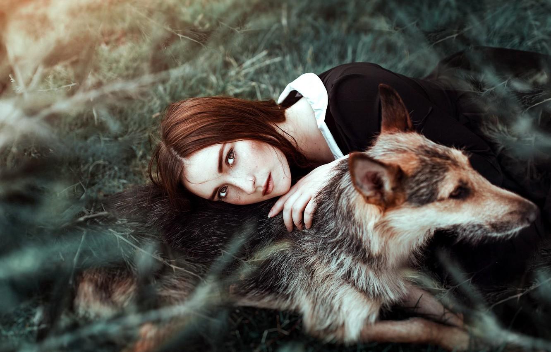 Photo wallpaper girl, mood, dog, friendship, Antonia Clio