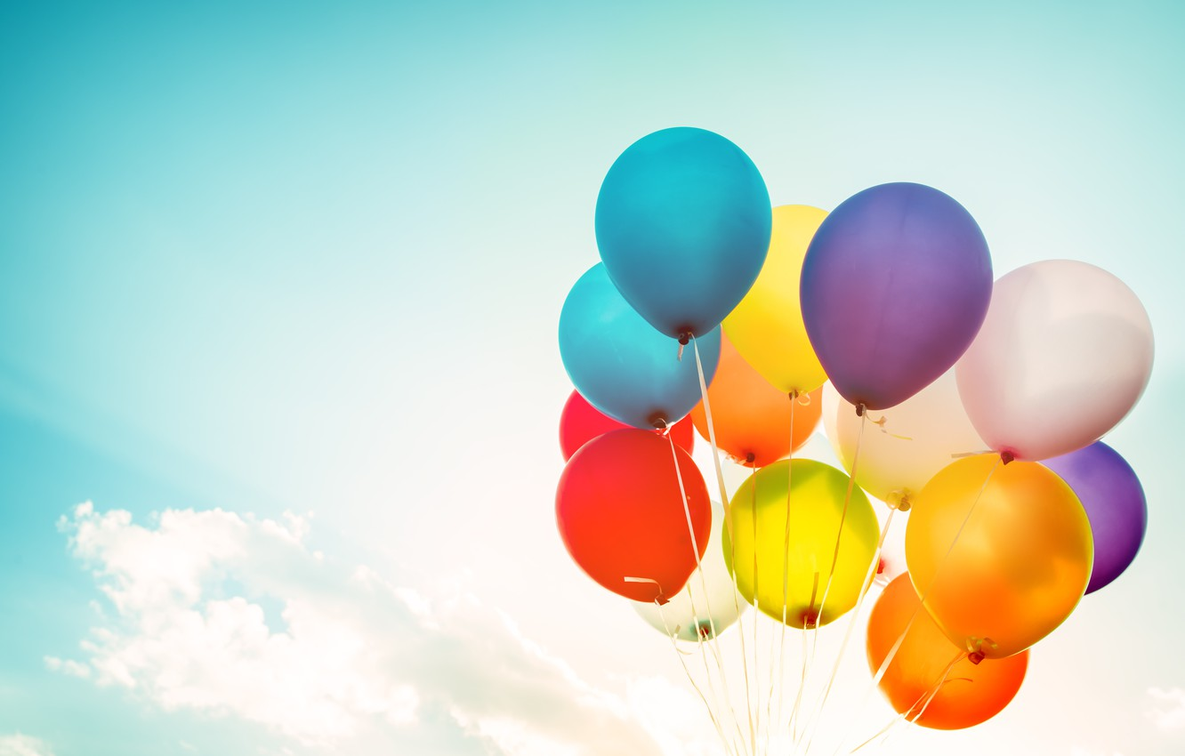 Photo wallpaper summer, the sun, happiness, balloons, stay, colorful, summer, sunshine, happy, balloon