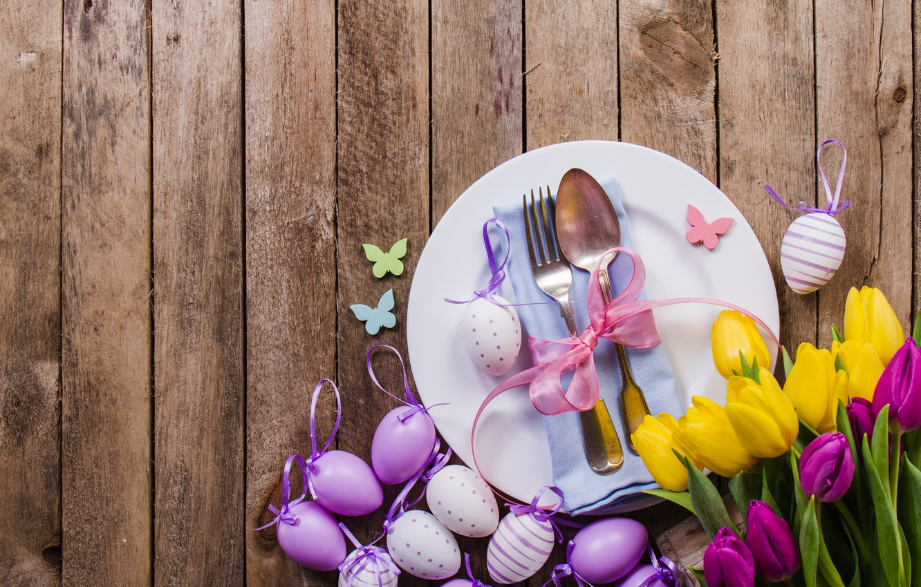 Photo wallpaper flowers, eggs, spring, yellow, colorful, Easter, tulips, flowers, tulips, spring, Easter, purple, eggs, decoration, Happy