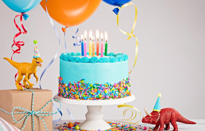 Photo Wallpaper Candles Dinosaur Holiday Cake Birthday