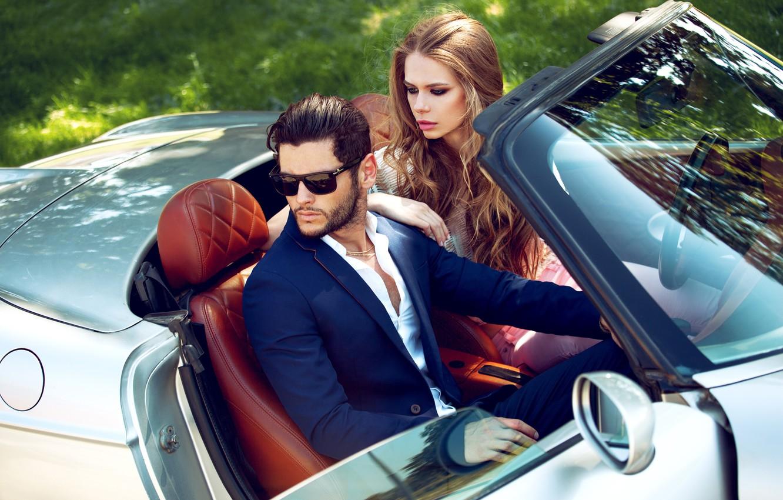 Photo wallpaper car, machine, look, girl, style, makeup, glasses, costume, male, two, fashion, fashion