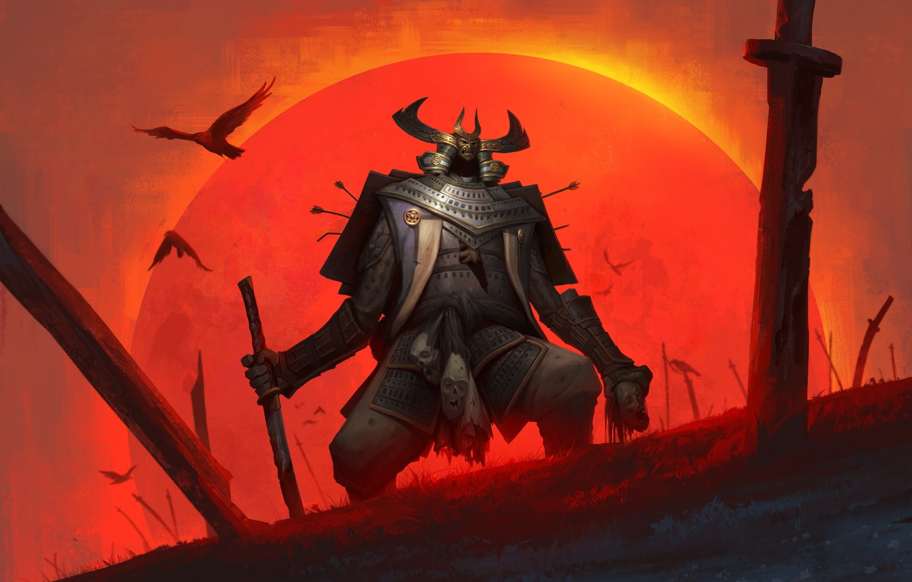 Wallpaper The Sun Birds Sword Head Warrior Armor