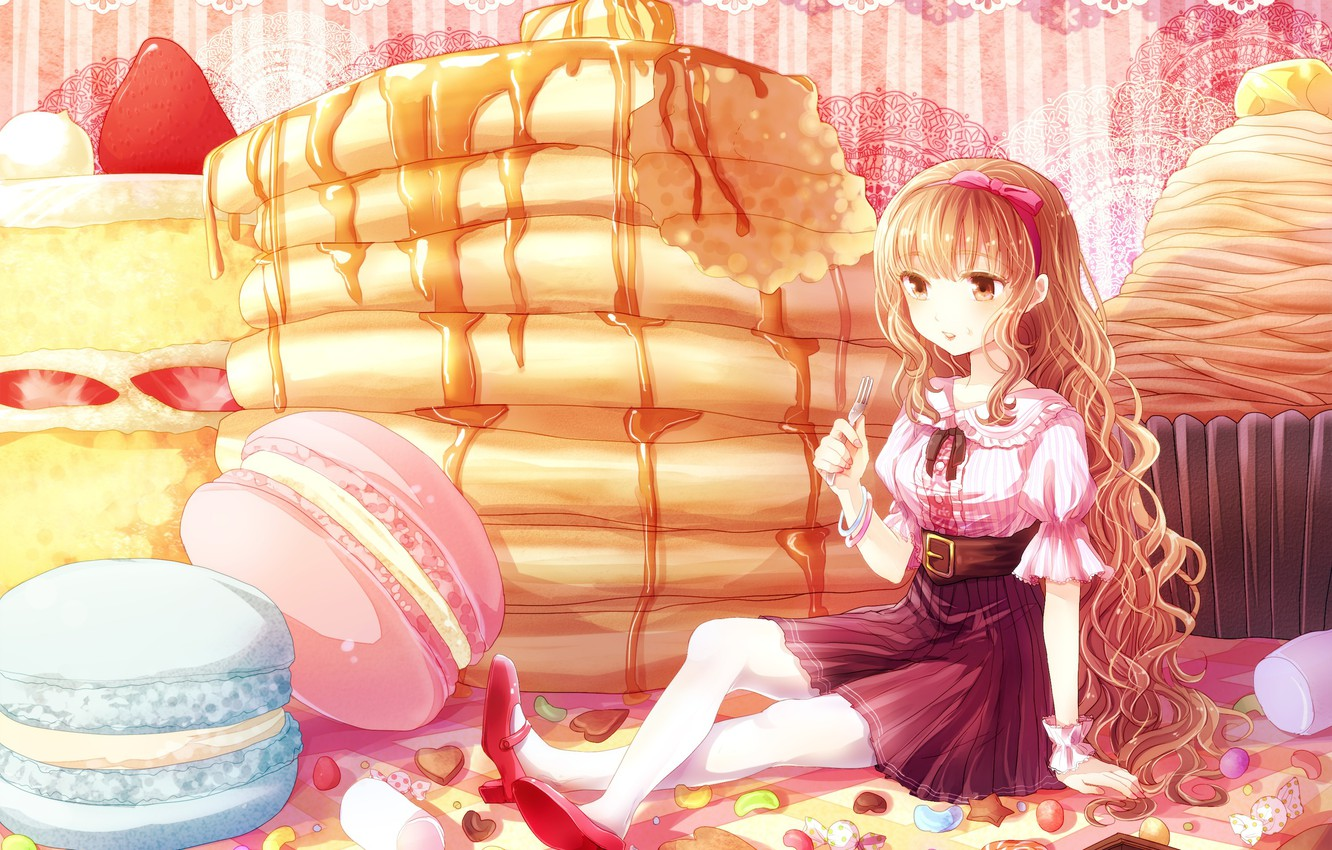 Photo wallpaper pattern, girl, sweets, blouse, plug, bow, sitting, long hair, on the table, syrup, pancakes, snacks, …