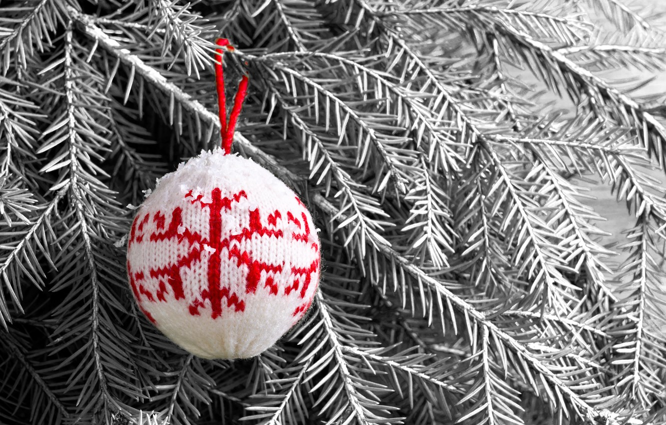 Photo wallpaper snow, decoration, balls, toys, tree, wool, New Year, Christmas, happy, Christmas, vintage, snow, New Year, …