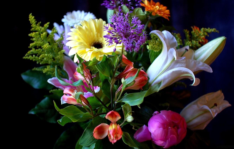 Photo wallpaper Lily, bouquet, peony, gerbera