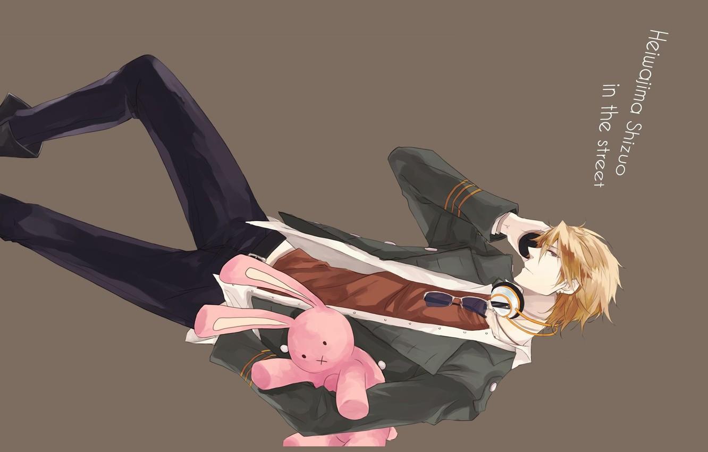 Photo wallpaper pink, rabbit, glasses, tie, guy, grey background, white shirt, Heiwajima Shizuo, Durarara!!, The headless horseman, …
