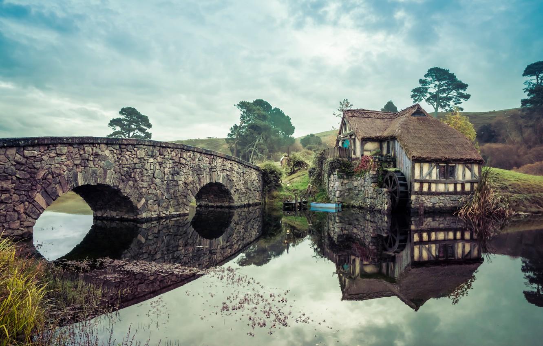 Photo wallpaper landscape, bridge, mill, The Lord Of The Rings, Tolkien, The hobbit, fantasy world, skazak, Hobitton