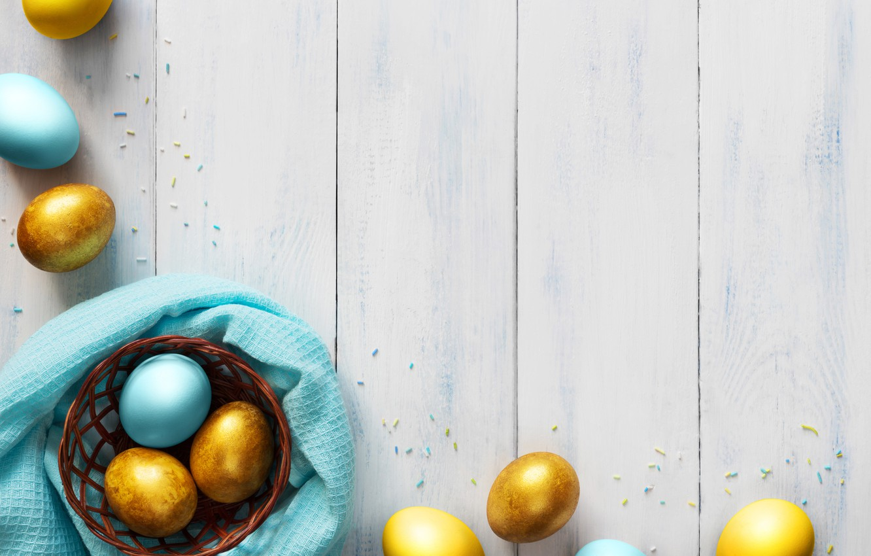 Photo wallpaper basket, eggs, blue, Easter, golden, wood, blue, spring, Easter, eggs, decoration, Happy, tender