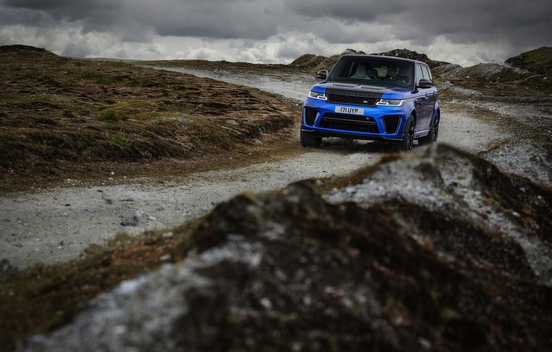 Photo wallpaper road, blue, clouds, overcast, hills, vegetation, SUV, Land Rover, Range Rover, SVR, four-door