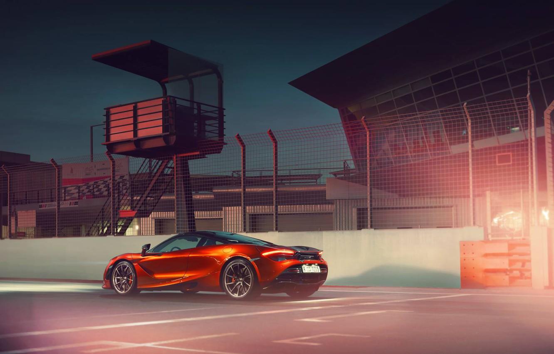 Photo wallpaper McLaren, Orange, Power, Supercar, Track, Rear, 570S
