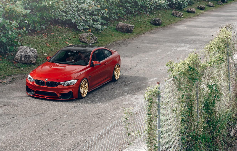 Photo wallpaper BMW, Orange, Front, Wheels, Velos