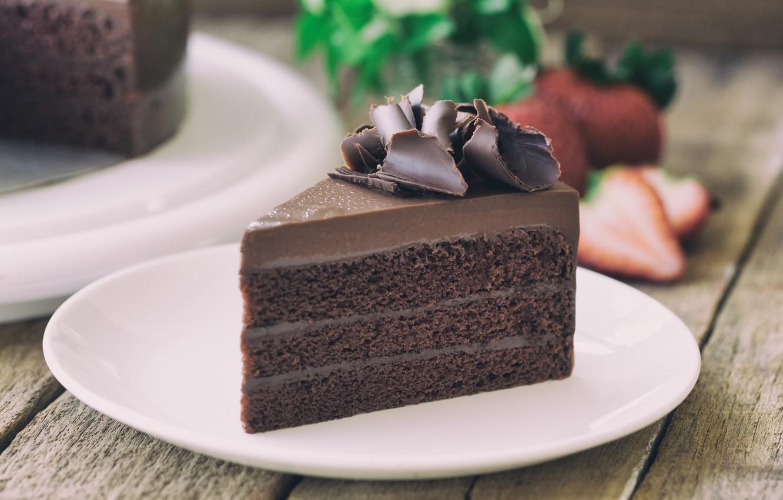 Photo wallpaper chocolate, cake, cream, a piece of cake