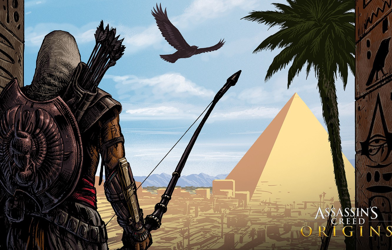 Photo wallpaper desert, pyramid, Egypt, assassin, Assassin's Creed: Origins