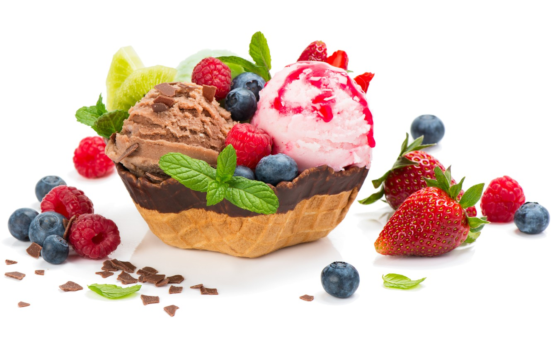 Photo wallpaper leaves, berries, raspberry, chocolate, blueberries, strawberry, ice cream, mint, dessert, sweet, chocolate, sweets, ice cream