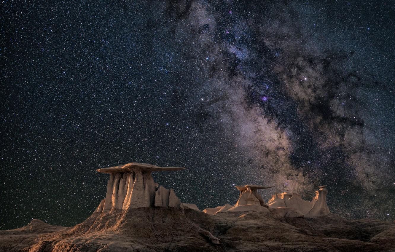 Photo wallpaper stars, night, stones