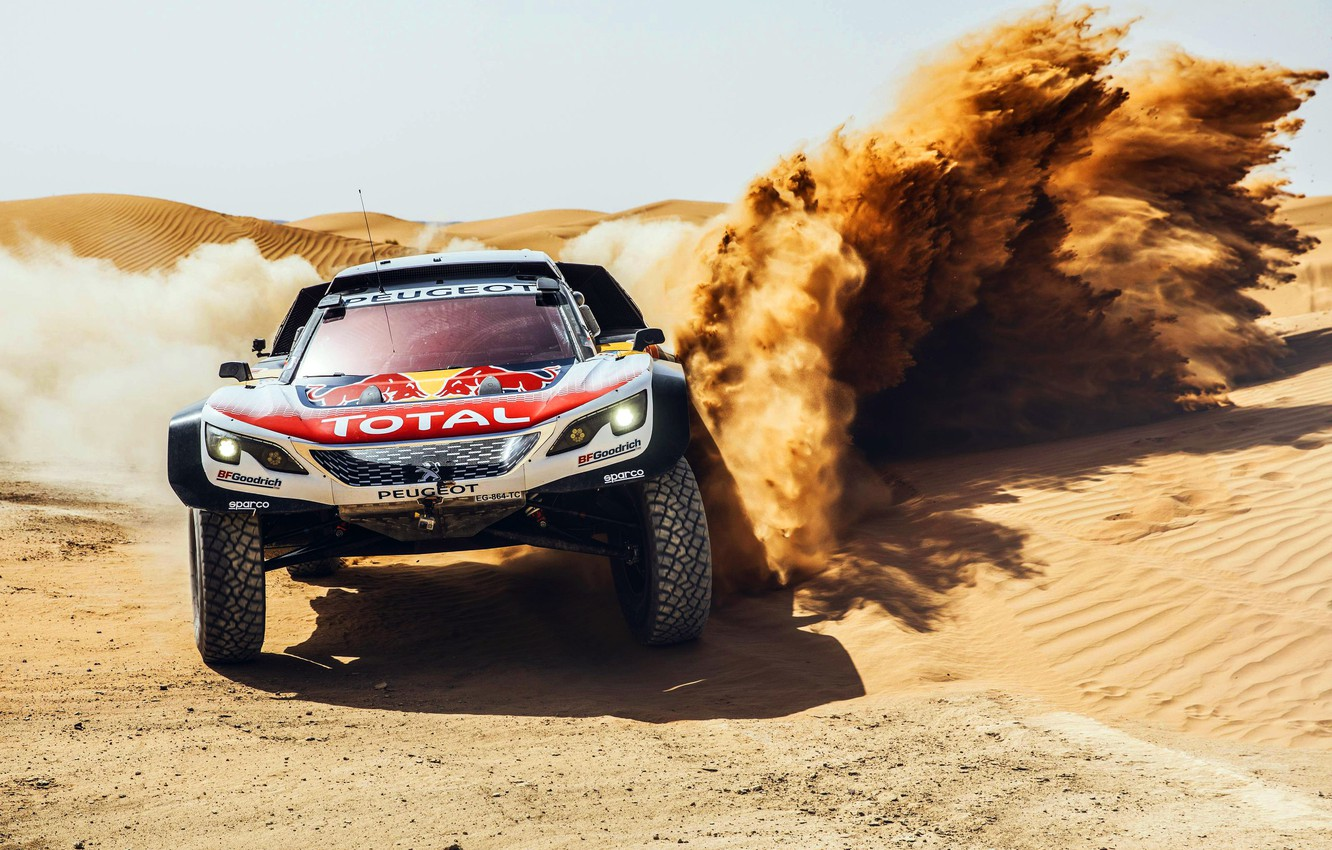 Photo wallpaper Sand, Sport, Speed, Race, Skid, Peugeot, Lights, Red Bull, Rally, Rally, Sport, The front, RedBull, …
