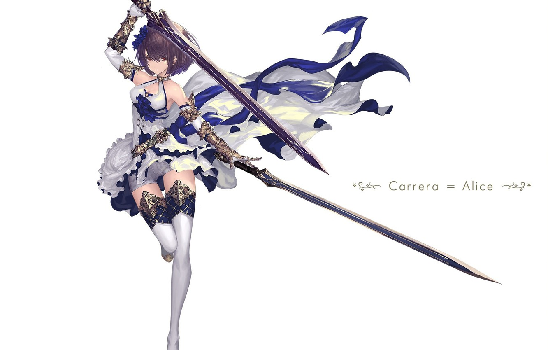 Photo wallpaper girl, weapons, sword, art, swords, tachikawa mushimaro