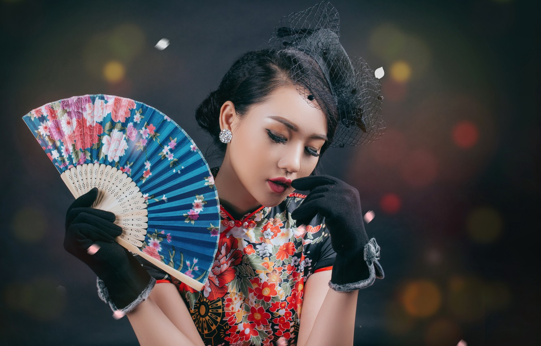 Photo wallpaper girl, fan, Asian