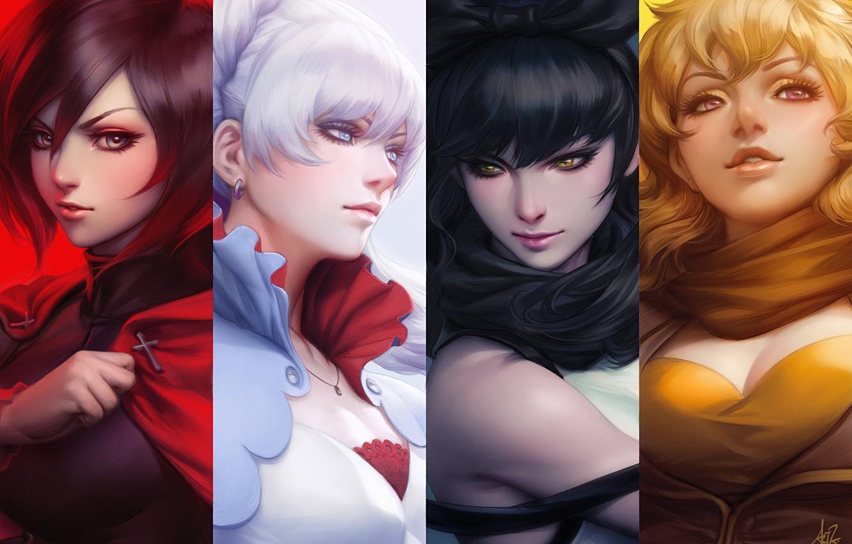 Photo wallpaper girls, face, anime, art, rwby, ruby rose, yang xiao long, blake belladonna, white snow