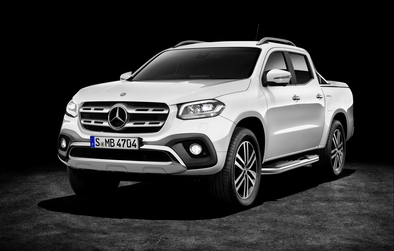 Photo wallpaper white, background, Mercedes-Benz, dark, pickup, 2017, X-Class