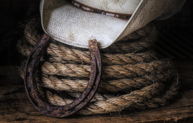 Photo wallpaper hat, rope, horseshoe