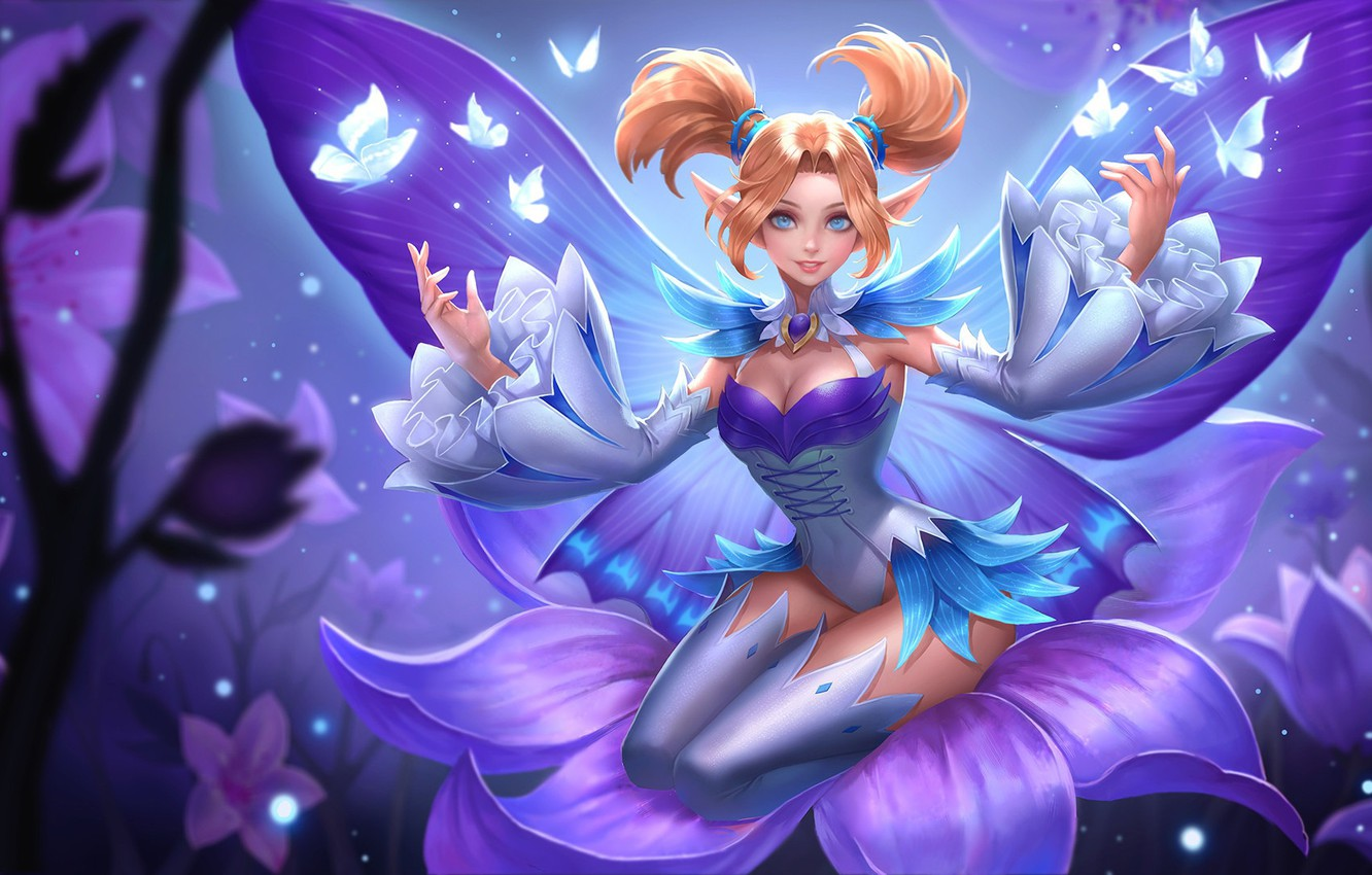 Wallpaper girl, butterfly, flowers, smile, magic, the game, wings