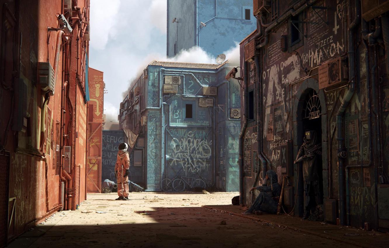 Photo wallpaper city, fantasy, graffiti, camera, street, man, digital art, artwork, fantasy art, pearls, bicycles, futuristic, astronaut, …