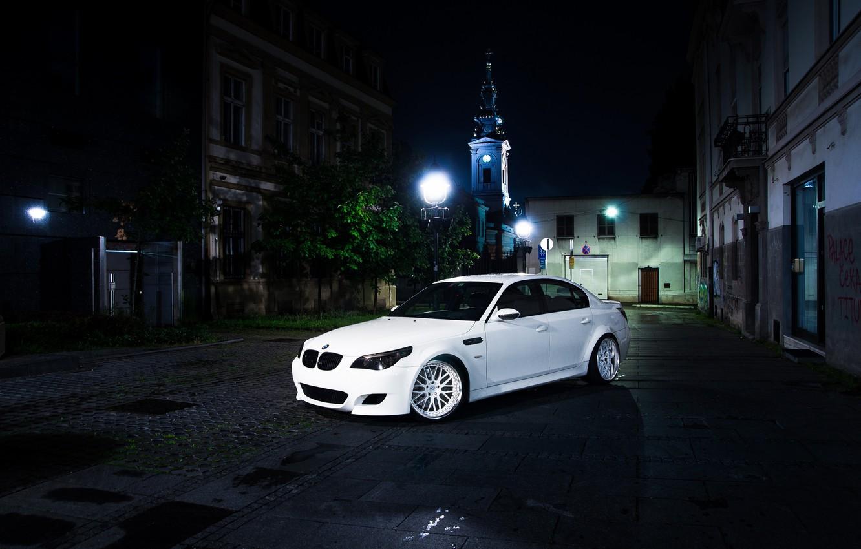 Photo wallpaper BMW, White, E60, Atmo
