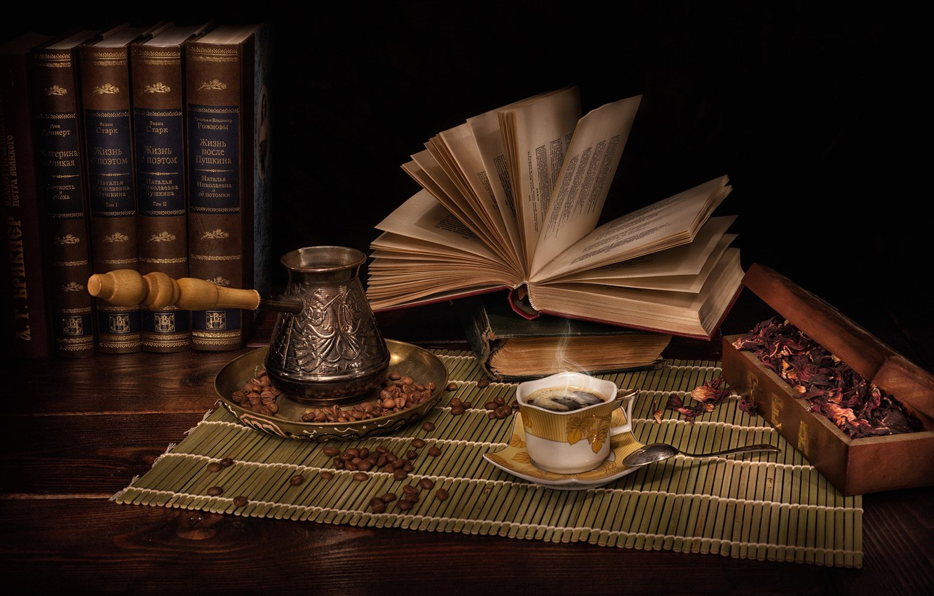 Photo wallpaper style, books, coffee, petals, still life, coffee beans, Turk