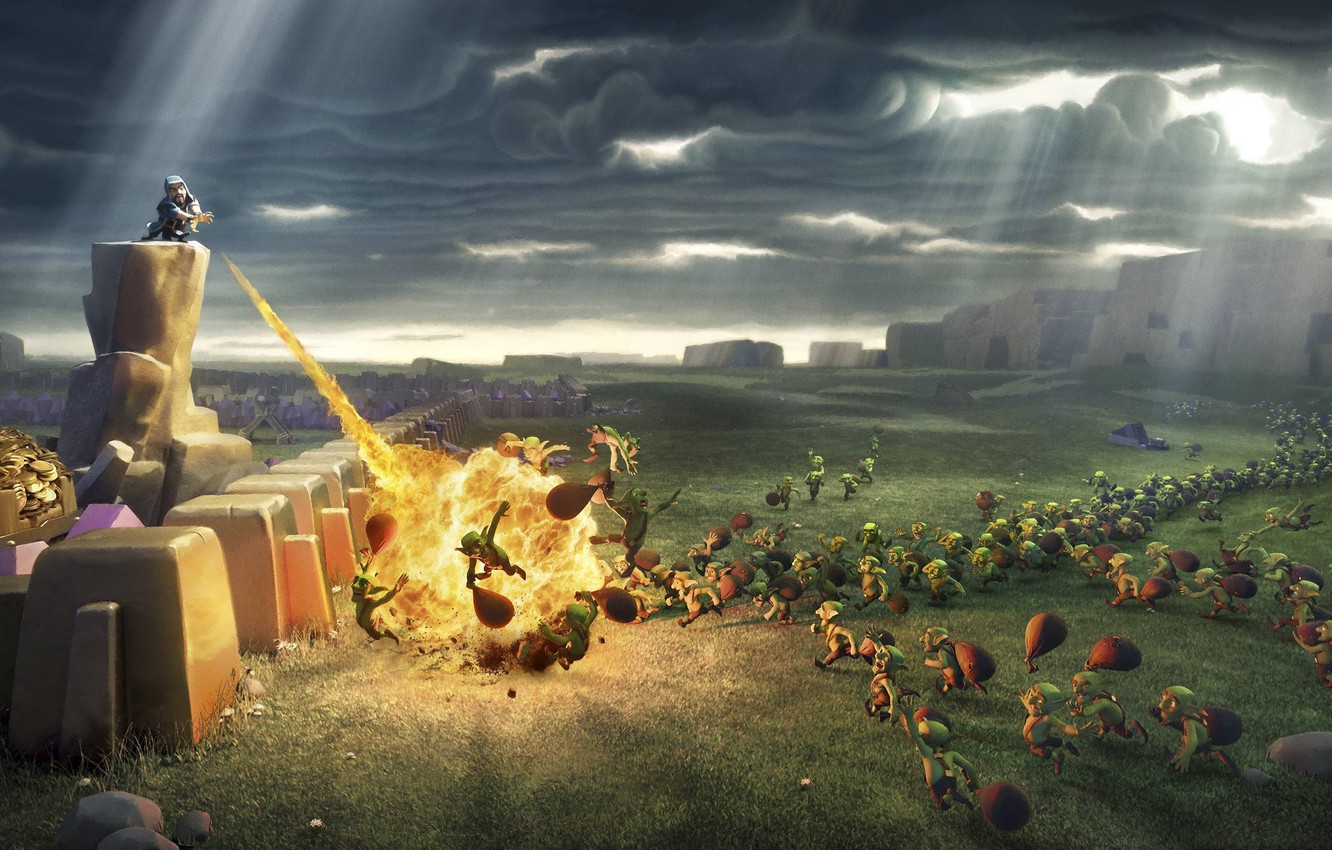 Wallpaper Fire Flame Game War Spark Goblins Clash Of Clans
