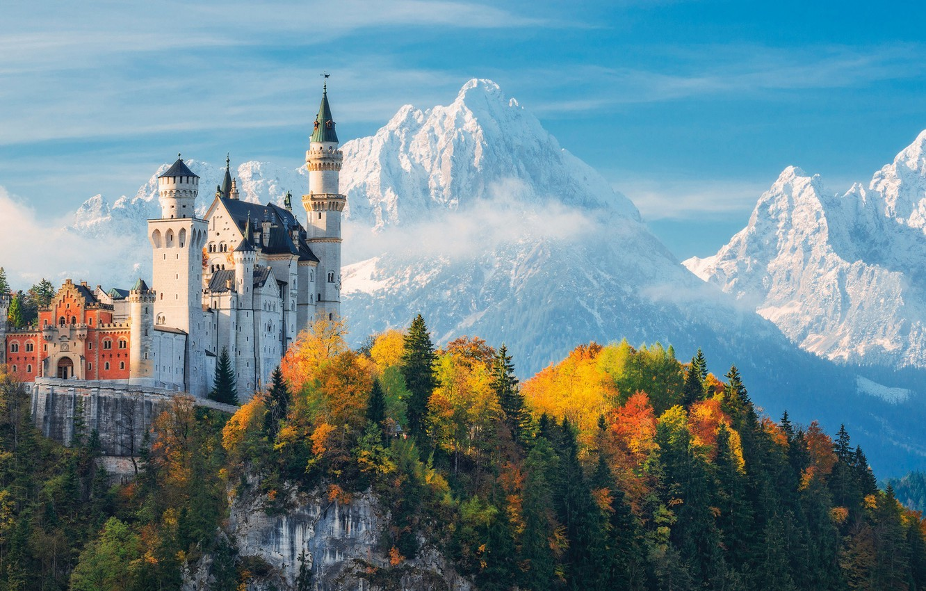 Photo wallpaper autumn, forest, the sky, clouds, trees, mountains, castle, Germany, Bayern, Neuschwanstein Castle