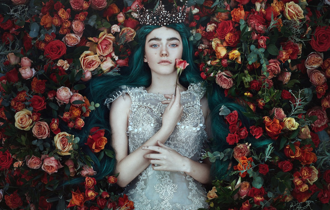 Photo wallpaper look, girl, flowers, style, mood, roses, crown, dress, Princess, Bella Kotak