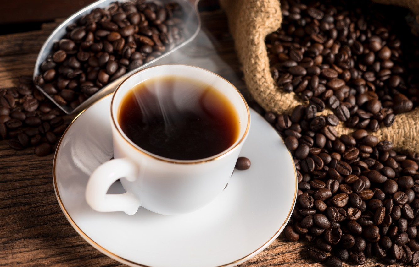 Photo wallpaper coffee, Cup, hot, coffee beans, cup of coffee