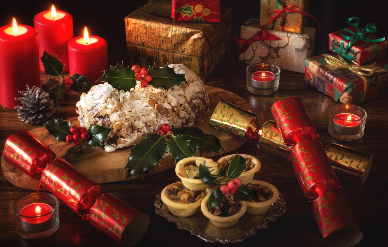 Photo wallpaper holiday, candles, pie, gifts, bump, cakes, Holly