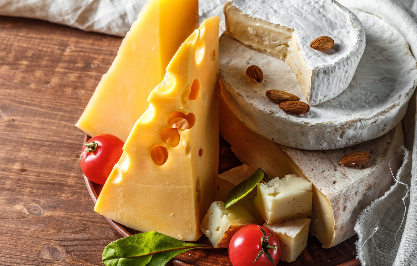 Photo wallpaper cheese, nuts, tomatoes