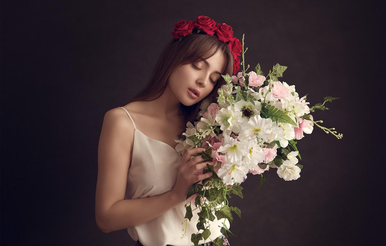 Photo wallpaper flowers, background, mood, roses, bouquet, wreath, Valeria, Eugene Sibirev